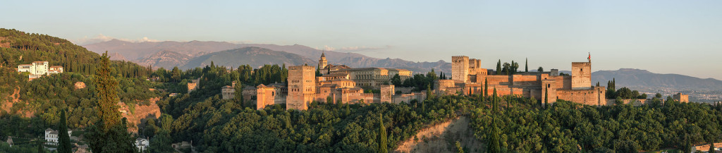 Evening panorama of Alhambra from Mirador de San Nicol?s, Granada, Spain. Author: Slaunger